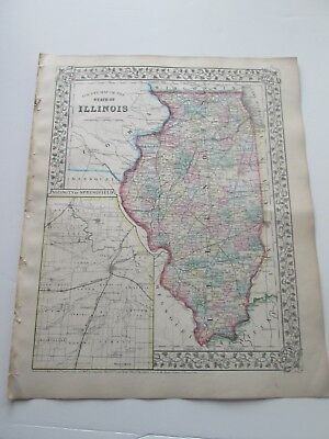 1871 ANTIQUE COUNTY MAP OF THE STATE OF ILLINOIS by S. AUGUSTUS MITCHELL