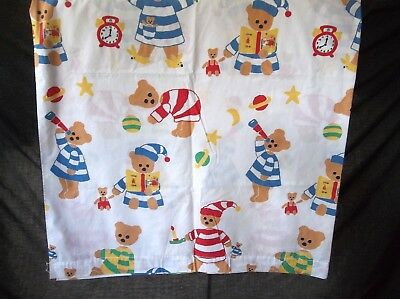 Vintage Twin Set Combed Cotton Bear Spring Industries No Iron Red White Blue 3pc
