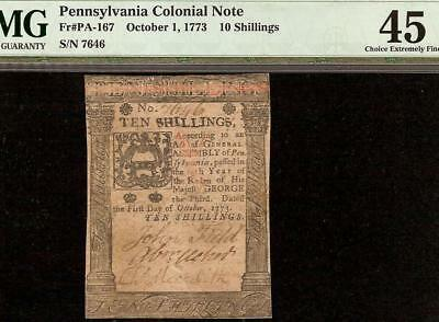 OCT 1, 1773 PENNSYLVANIA COLONIAL CURRENCY 10s NOTE PAPER MONEY PA-167 PMG 45