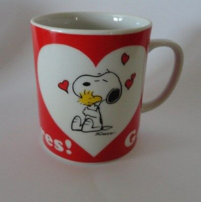 Vintage Snoopy and Woodstock Hearts Peanuts Mug Cup Gee, Sombody Cares Free Ship