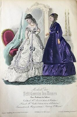 1860s Early Hand Coloured Fashion Print