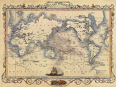World Old Map Mercator Captain Cook Sailboat Travel Vintage Poster Repro Large