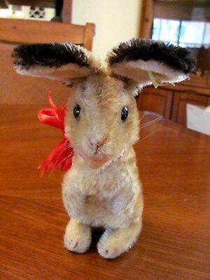"""Rare Vintage 'steiff' 7"""" Mohair Jointed 'manni' Bunny Glass Eyes Silver Button"""
