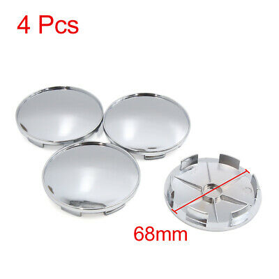 4 Pcs 68mm Dia 6 Lugs Auto Car Tire Wheel Rim Center Hub Caps Cover Silver Tone