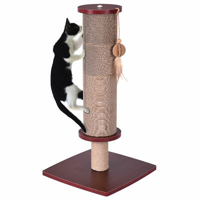 Cat Kitten Scratcher Post Pole Tall Sisal Rope Activity Tree w/ Hanging Play Toy