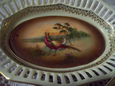 """Vintage 7"""" Oval Porcelain Reticulated Hand Painted Relish Dish, Bavaria Germany"""