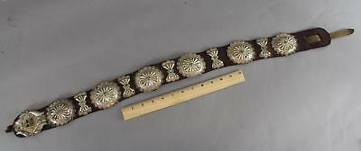 Early 20thC Antique Western Navajo Old Pawn Turquoise & Silver Concho Belt