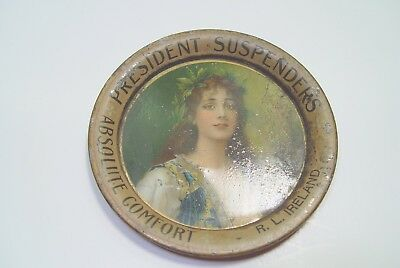 Antique Advertising Tip Tray For President Suspenders, R.l. Ireland.