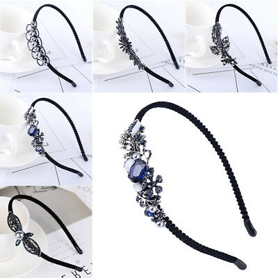 Women Lady Elegant Pearl Crystal Rhinestone Headband Bridal Hairband Gift Black