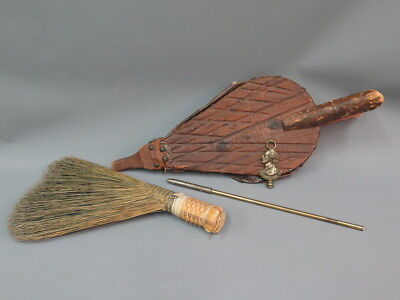 (3) Vintage Fireplace Bellows Berea College Hearth Broom & Stratford Brass Poker