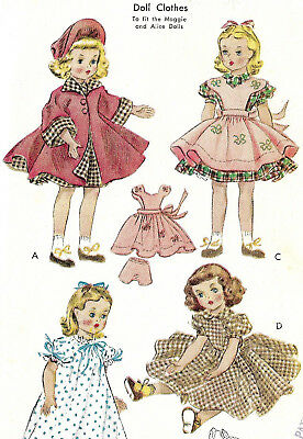 """M1717 McCall's Vtg Sewing Pattern Maggie Alice Doll 15"""" 38 cm Coat Hat Pinafore"""