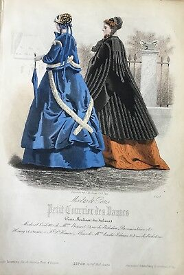 original 1860's Hand Coloured Fashion Engraving