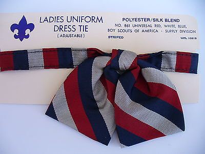 Official Boy Scout Ladies Uniform Dress Tie Adjustable Universal Red White Blue