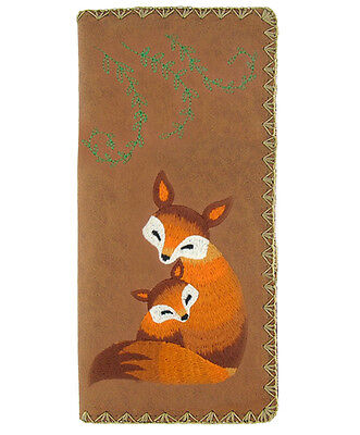 # New LAVISHY Checkbook Wallet RED FOX Vegan Leather Embroidery BROWN Baby Cub