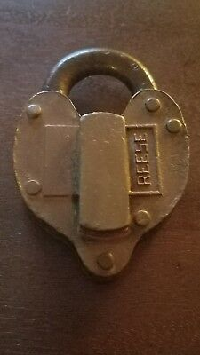 Vtg Antique Old Reese railroad? Large Brass Plated Padlock