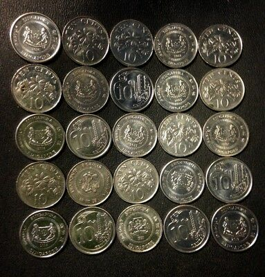 Old Singapore Coin Lot - 25 Excellent Exotic Coins - MOST AU/UNC - FREE SHIPPING