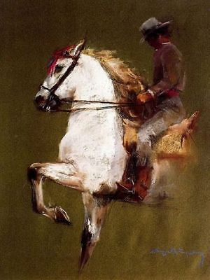 CHOP287 100% hand-painted home decor man with horse art  oil painting on canvas