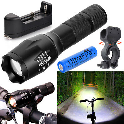 Tactical Police 90000LM T6 LED Zoomable 18650 Super Bright Flashlight Torch Lamp