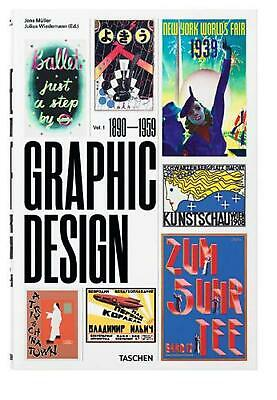 History of Graphic Design: 1890-1959 by Jens Muller (German) Hardcover Book Free
