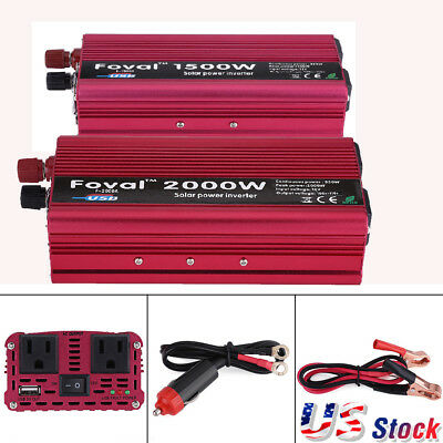1500/2000W Car Portable Power Inverter DC 12V- AC 110V Converter W/ Dual Outlets
