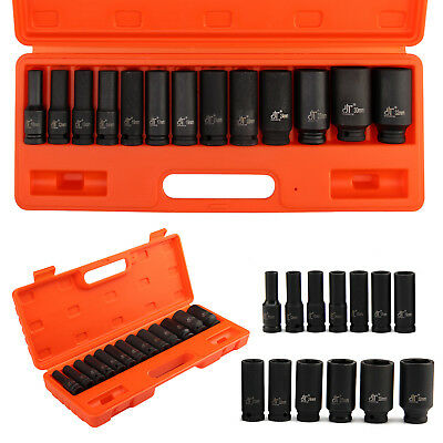"13Pcs 10-32Mm 1/2"" Impact Socket Set Metric Imperial Drive Air Garage Deep Au"