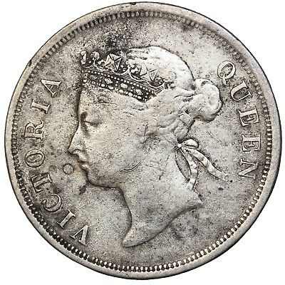 1895 British Straits Settlements Silver 50 Fifty Cents Queen Victoria KM#13