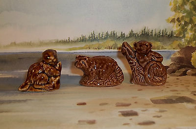 So Cute Lot of 3 WADE Animal Figures England Brown Glaze Woodland Inspried F48