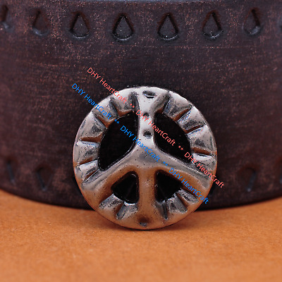 """10pc Silver Peace Sign Western Leathercraft Belt Round Metal Concho LOT 1"""""""