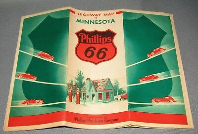 Vintage 1934 PHILLIPS 66 MINNESOTA ROAD MAP WITH VERY NICE GRAPHICS