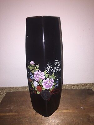 Vintage Black Porcelain Hand Painted Imperial Kutani Japan  Vase