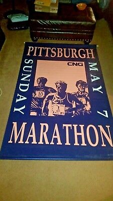 Double Sided 1989 Pittsburgh Marathon Advertising Game Room  Banner Sign