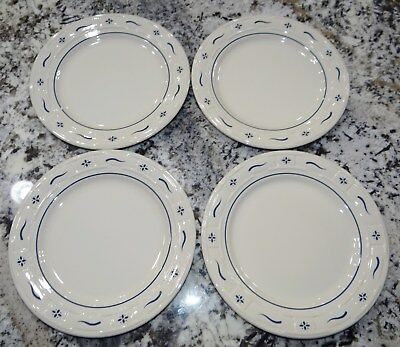 "4 Longaberger Classic Blue 10"" Dinner Plates Set Woven Traditions Excellent!!"