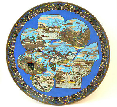 c1875, UNIQUE ANTIQUE 19thC JAPANESE MEIJI PERIOD CLOISONNE ENAMEL CHARGER PLATE