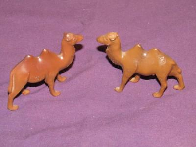 Vintage 2 Metal Brown Painted Camels.  Made in USA