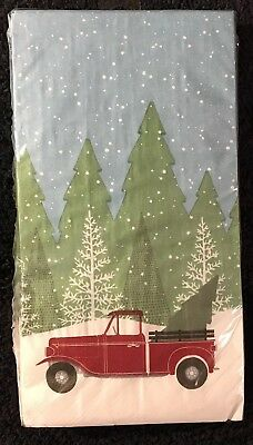 Christmas Tree Red Truck Package of 16 Paper Guest Towel Dinner Napkins