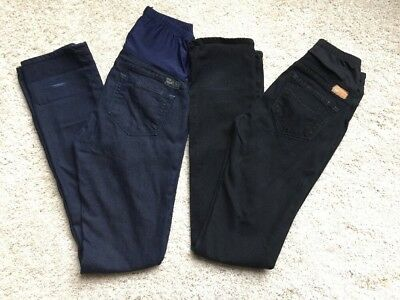 PAIGE Maternity Jeans 27 Skinny leg Dark Blue Heights Wash Denim Lot of 2 LONG
