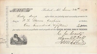 Antique Promissory Note 1874  Frederick, Maryland
