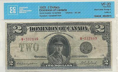 1923 $2 Dominion of Canada; CCCS Graded VF-20