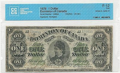 1878 $1 Dominion of Canada; Payable At MONTREAL CCCS Graded F-12