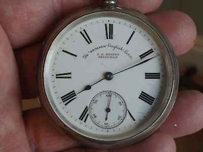 Antique  Gents Graves The Britannia  Solid Sterling Silver  Pocket Watch