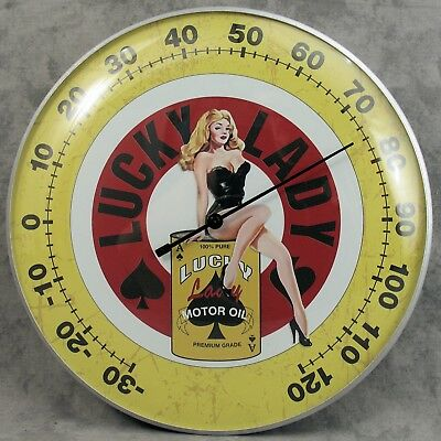 """Lucky Lady Motor Oil Sexy Pin-Up Girl Thermometer 12"""" Round Glass Dome Sign"""
