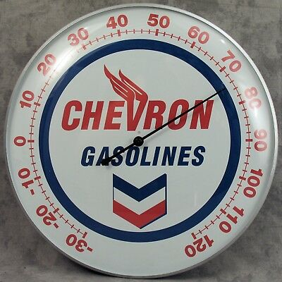 "Chevron Gasoline Winged V Thermometer 12"" Round Glass Dome Sign"