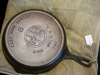 #8 Griswold Cast Iron Skillet, 704H,Heat Ring, Large Logo, Slant, Fully Restored