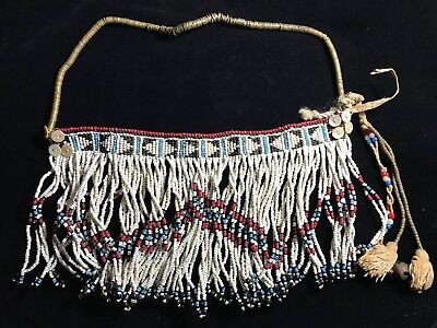 Old Native American Indian Woven Glass Bead Fringe Collar Sash Sioux ? Plains