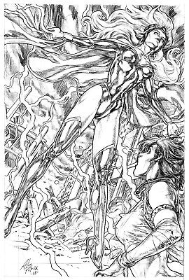 CALLISTO IN THE STORM BY ALAN PATRICK- ART PINUP Drawing Original