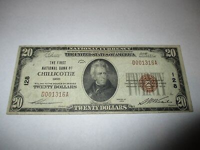 $20 1929 Chillicothe Ohio OH National Currency Bank Note Bill! Ch. #128 FINE!