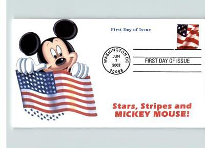 Disney's MICKEY MOUSE Holds Flag, STARS, STRIPES and Mickey Mouse FDC