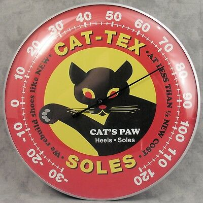 "Cat-Tex Soles Cat's Paw Heels Shoes Thermometer 12"" Round Glass Dome Sign"