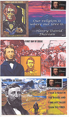 Jvc Cachets - 2017 Henry David Thoreau First Day Cover Fdc Set Of 3 L.e. Of 20