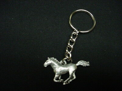 HORSE Silver PEWTER KEYCHAIN CHRISTMAS ORNAMENT Equine Key Chain Ring pony NEW